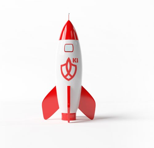 A mockup of a red rocket on white background